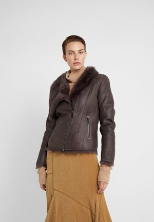 SHORT JACKET - Leather jacket - toscana dark mist