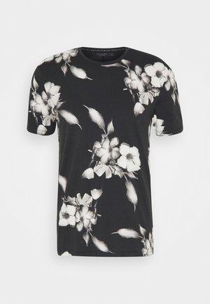 FLORAL TEE - Print T-shirt - wash black