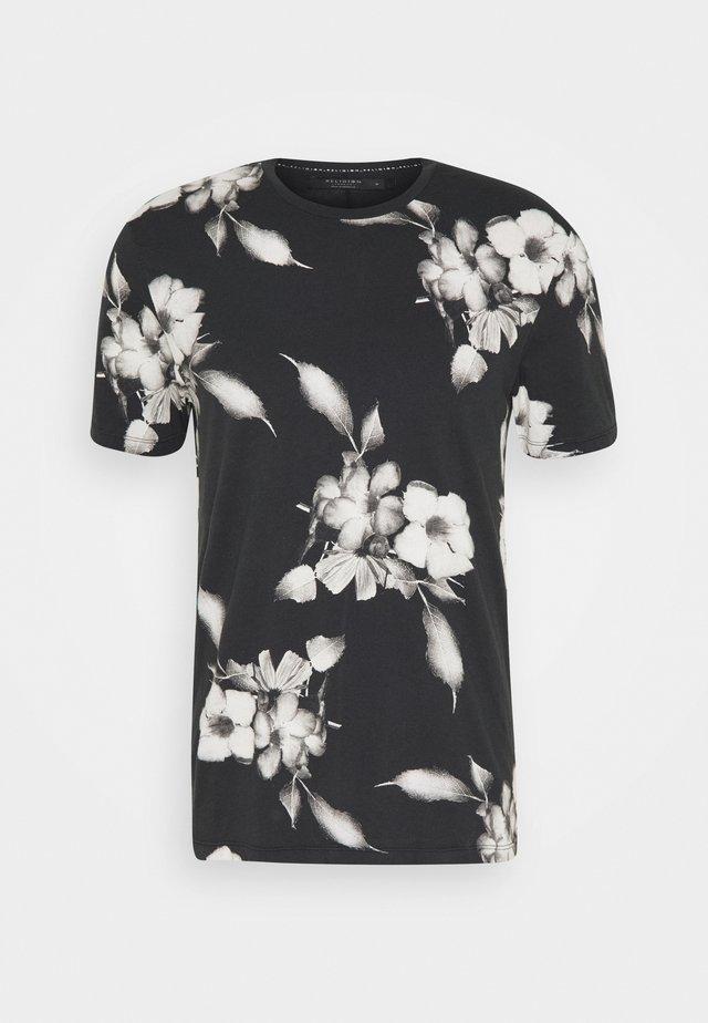 FLORAL TEE - T-shirt imprimé - wash black