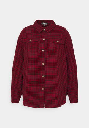 DOGTOOTH SHACKET WITH POCKETS - Summer jacket - red