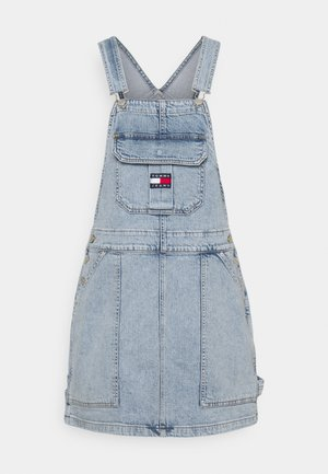 CARGO DUNGAREE DRESS - Dongerikjole - light-blue denim