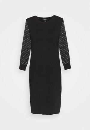 FOIL CREW NECK DRESS - Jumper dress - black/silver