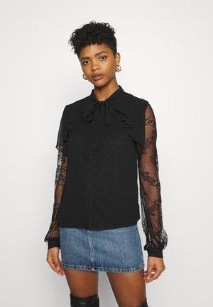 SLEEVE TIE NECK BLOUSE - Long sleeved top - black