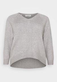 Selected Femme Curve - SLFPOLLY  V-NECK - Jumper - light grey - 4