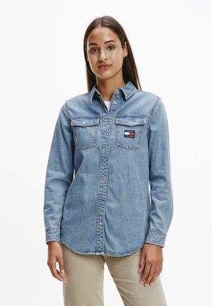 Button-down blouse - denim medium