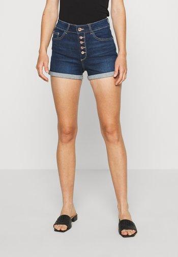 ONLHUSH BUTTON BOX - Denim shorts - dark blue denim