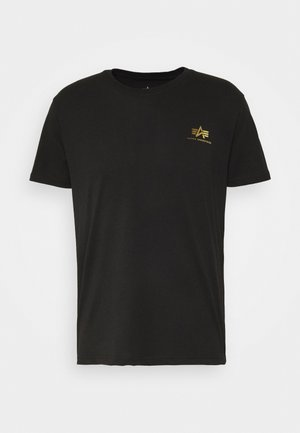 BASIC SMALL LOGO FOIL PRINT - T-Shirt basic - black/yellow gold