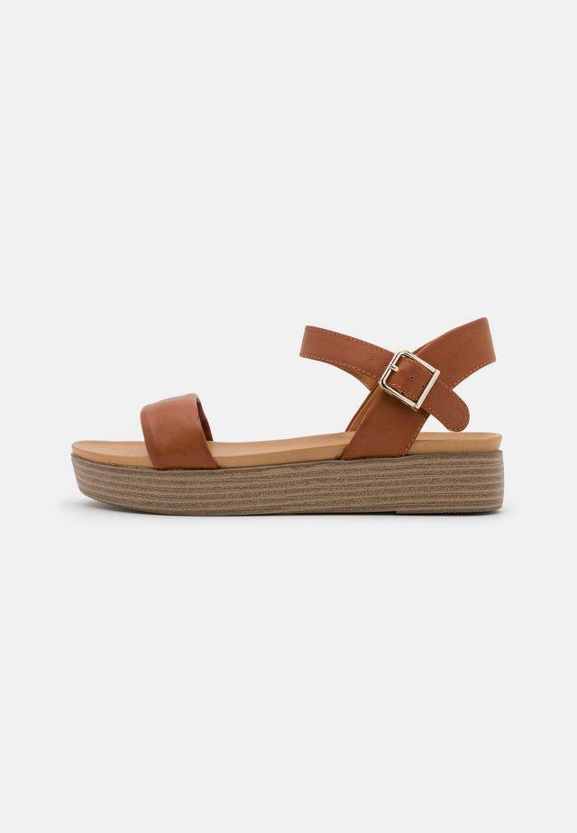 JULYY - Platform sandals - cognac