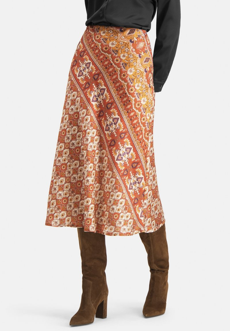 Nicowa - EXTRAVAGANTER MIT ETHNO-MUSTER - SLIWA - A-line skirt - orange
