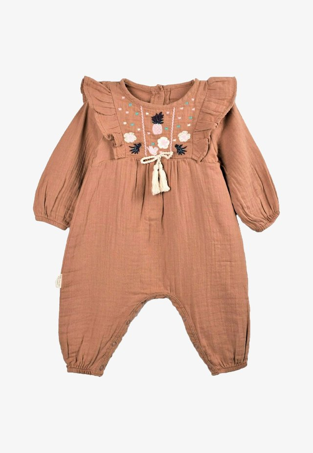 Pineapple Embroidery Detailed Muslin Romper (0 to 18 mths) - Jumpsuit - mink color