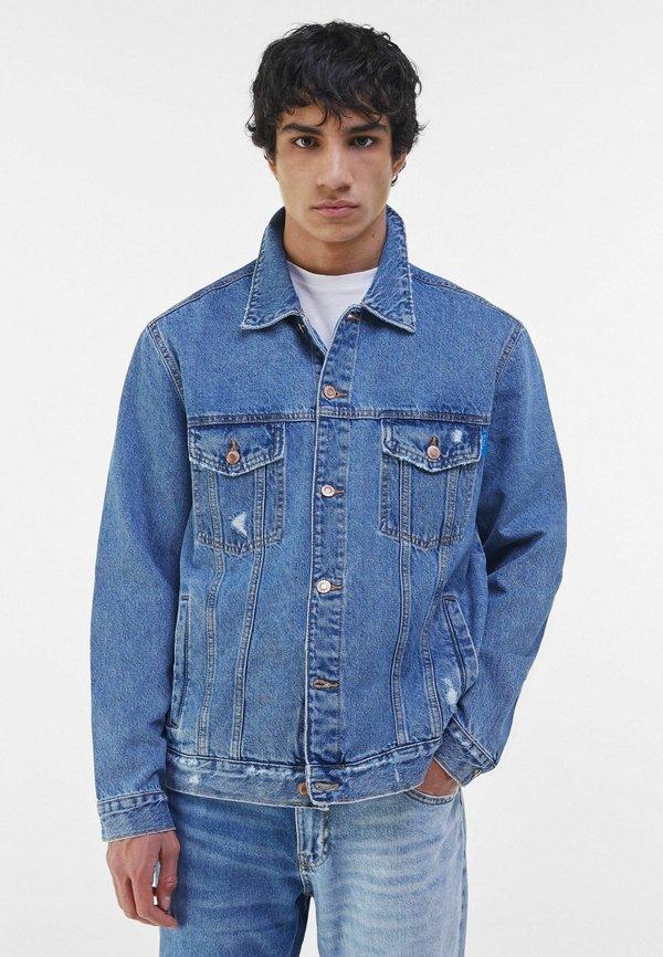 Bershka Kurtka jeansowa - blue denim/niebieski denim Odzież Męska LMIB