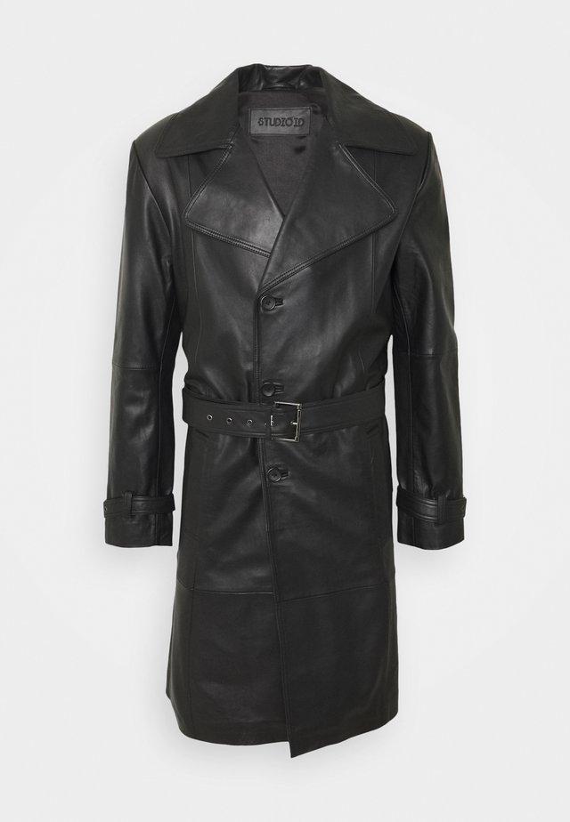 CHRISTIAN LEATHER COAT - Leather jacket - black