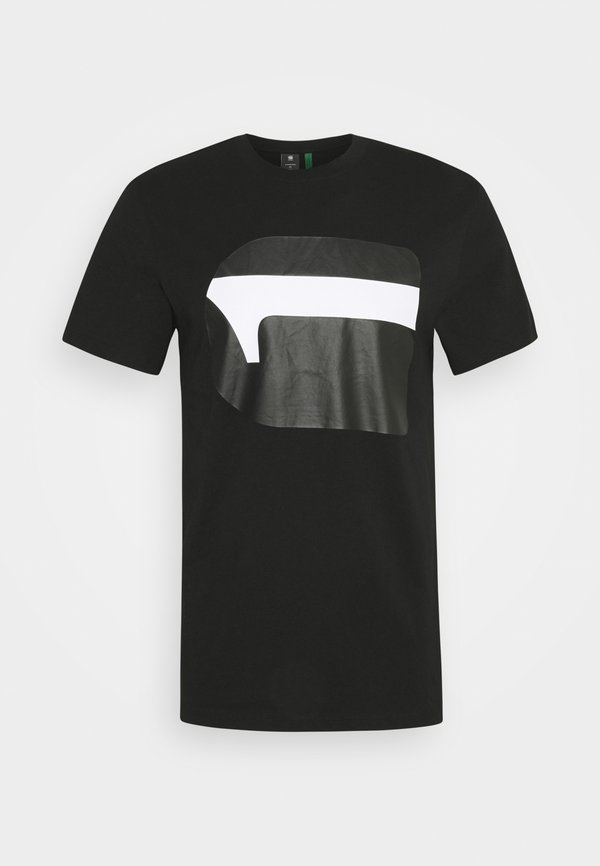 G-Star 3D NO.1 LOGO+ R T S\S - T-shirt z nadrukiem - dark black/czarny Odzież Męska JRXQ