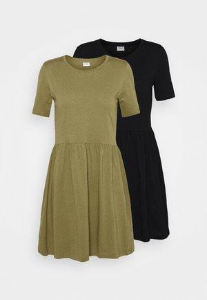 JDYPASTEL LIFE DRESS 2 PACK  - Žerzejové šaty - black/martini olive