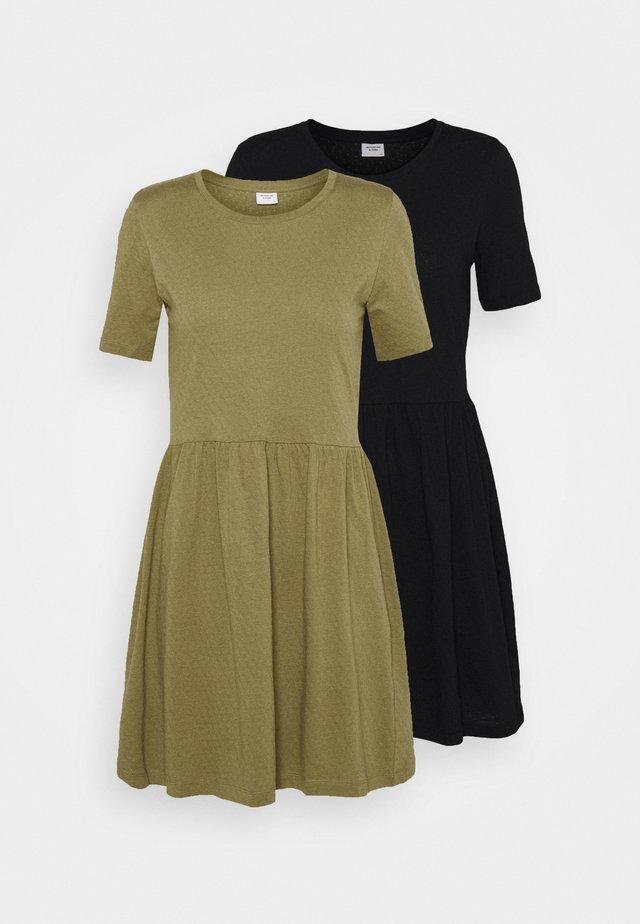 JDYPASTEL LIFE DRESS 2 PACK  - Trikoomekko - black/martini olive