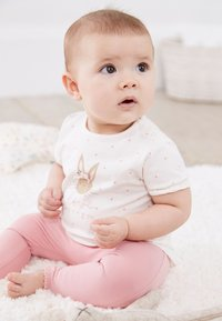 Next - BUNNY SET - Leggings - Trousers - pink/off-white - 0