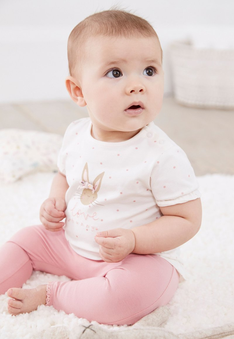 Next - BUNNY SET - Leggings - Trousers - pink/off-white