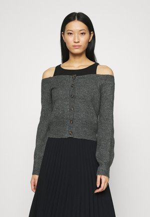 OFF THE SHOULDER CARDIGAN - Cardigan - dark heather grey