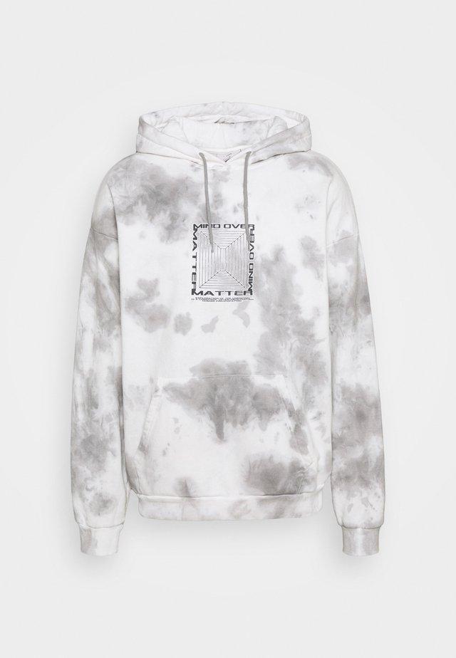 MIND OVER MATTER TIE DYE HOODY UNISEX - Luvtröja - white/grey