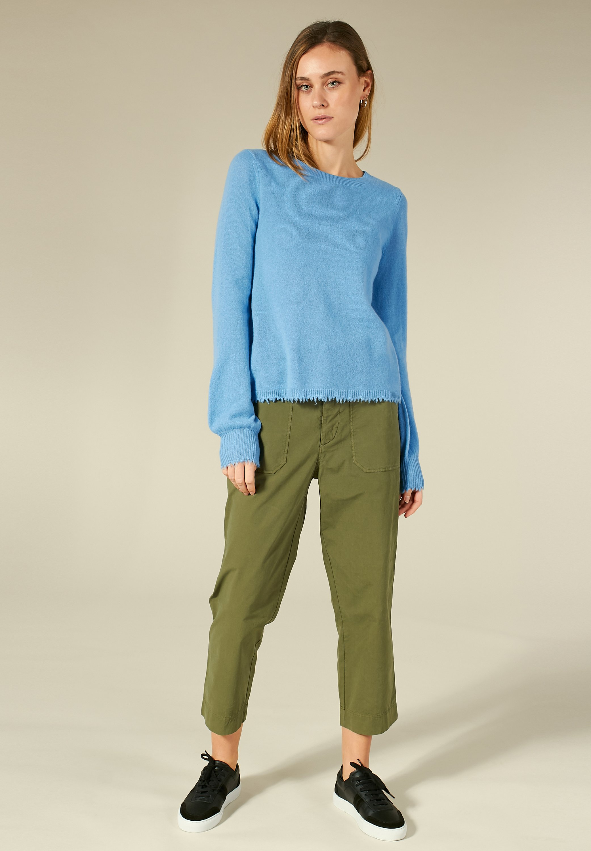 Alla moda Abbigliamento da donna Bloom BLOOM STRICKPULLOVER MIT FRANSENSÄUMEN Maglione cornflower blue