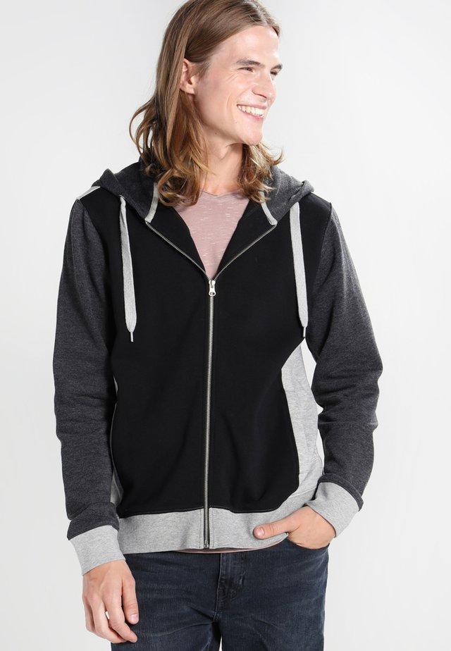 Zip-up hoodie - black/grey/charcoal