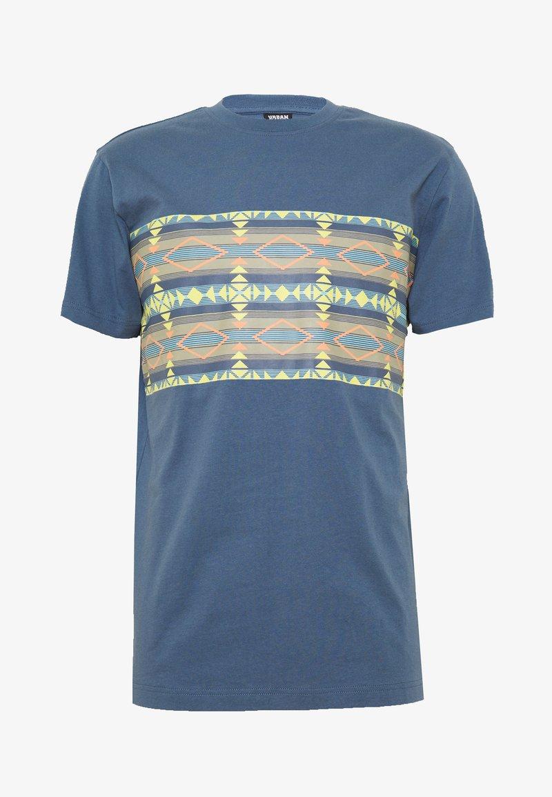 Urban Classics - INKA PATTERN TEE - Print T-shirt - vintage blue