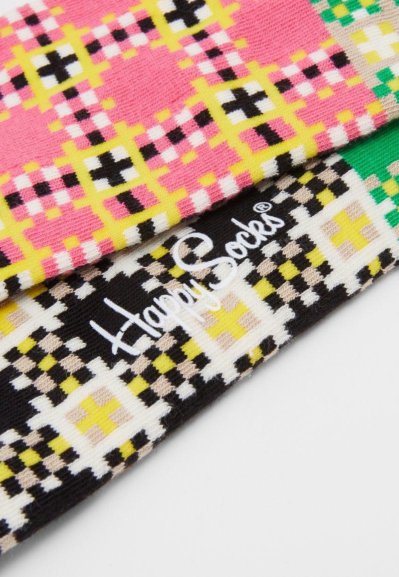 Botas de calcetines checkerboard negro-Pink a cuadros
