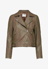 Selected Femme - SLFKATIE JACKET - Leather jacket - fossil - 0