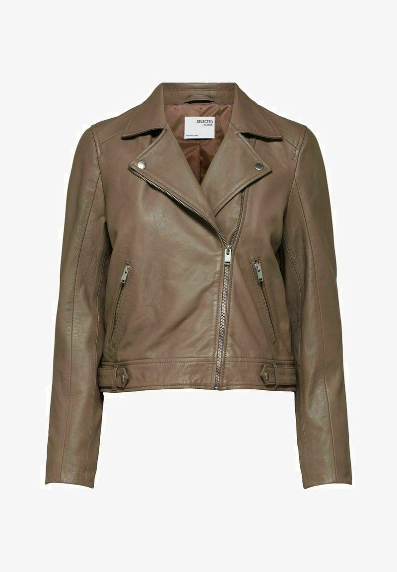 Selected Femme - SLFKATIE JACKET - Leather jacket - fossil