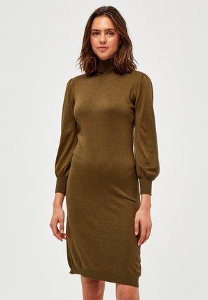 Gebreide jurk - dark olive melange