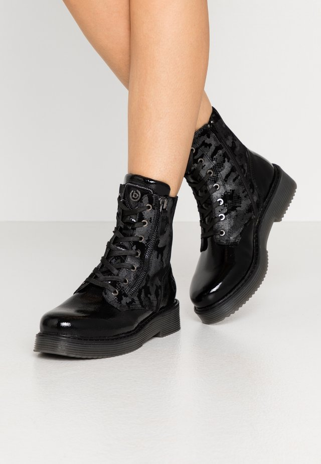 NERIA - Bottines à plateau - black/metallics