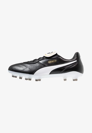 KING TOP FG - Moulded stud football boots - black/white