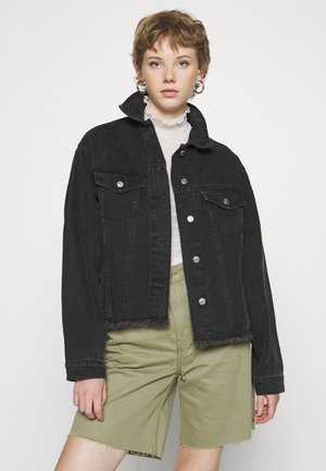 RAW HEM OVERSIZE DENIM JACKET - Jeansjacke - washed black