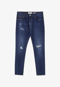 MIT ZIERRISSEN - Jeans Tapered Fit - dark-blue denim