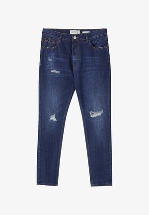 MIT ZIERRISSEN - Jeans Tapered Fit - dark-blue denim