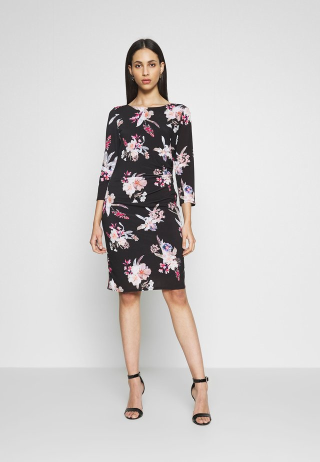 FLORAL RUCH SIDE DRESS - Trikoomekko - black