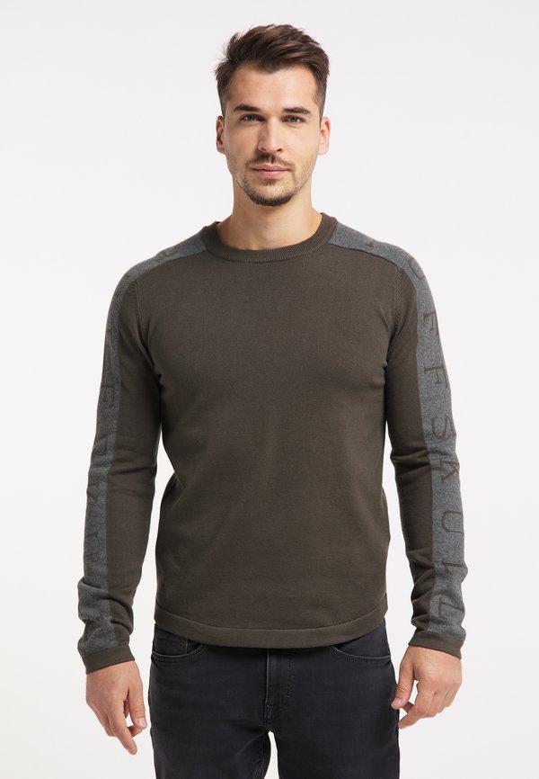 TUFFSKULL Sweter - militär oliv grau/wielokolorowy Odzież Męska ITSJ