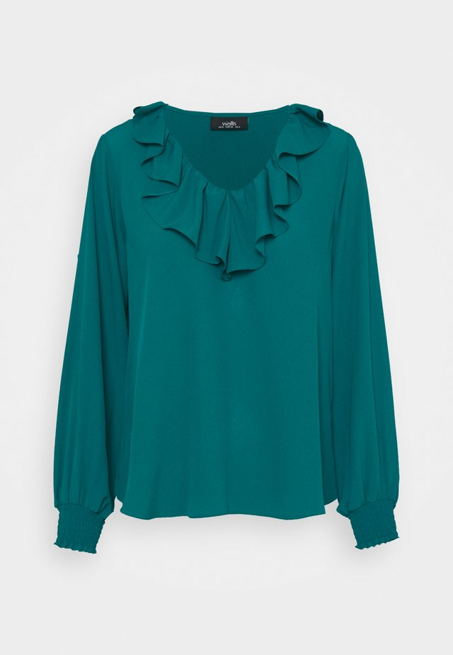 RUFFLE TIE NECK - T-shirt à manches longues - teal