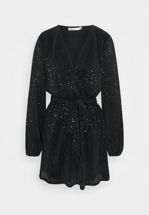 WRAP SEQUIN DRESS - Cocktailkjoler / festkjoler - black