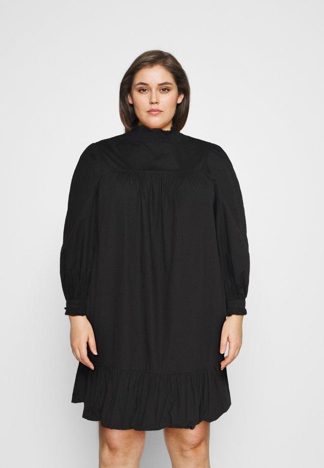 TIE SLEEVE SMOCK DRESS - Korte jurk - black