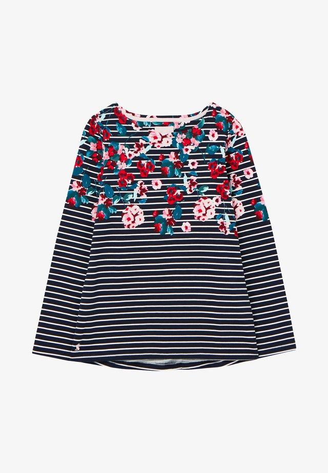 Camiseta de manga larga - marineblau floral streifen