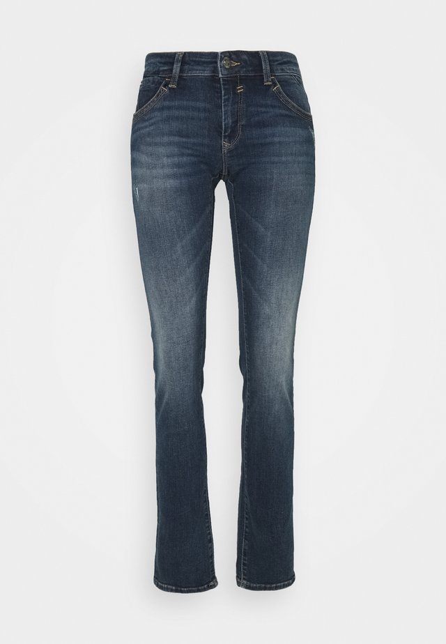 OLIVIA - Jean droit - indigo distressed glam