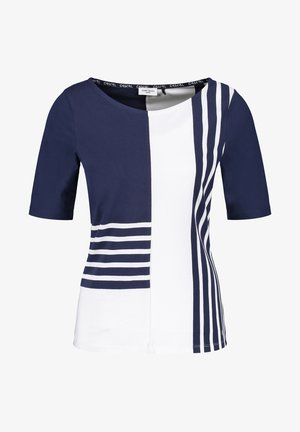 Print T-shirt - blau/ecru/weiss ringel