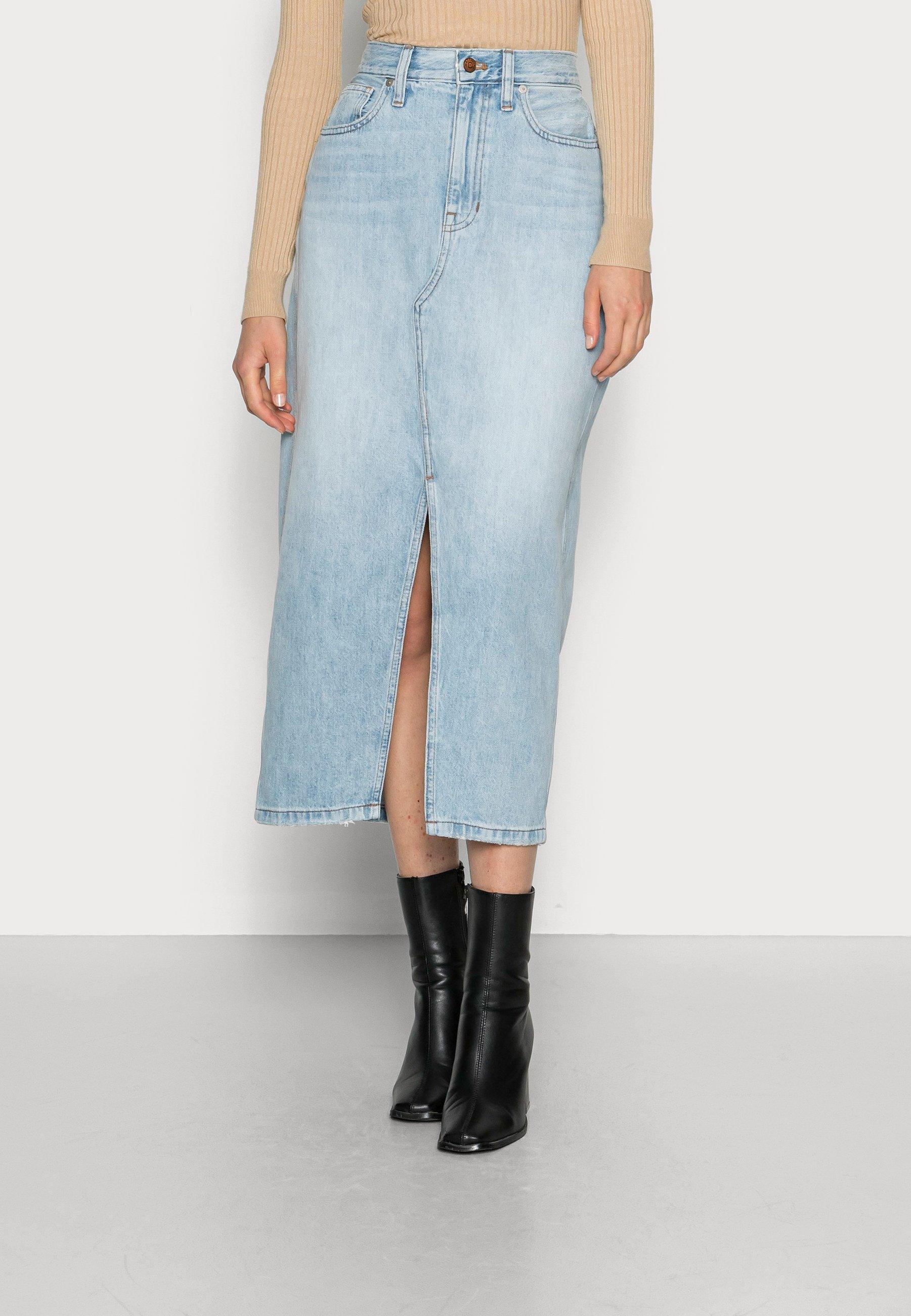 Femme LONG RECONSTRUCTED SKIRT - Jupe en jean