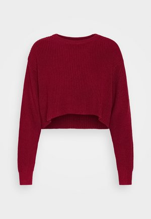 HIGH CROPPED JUMPER - Sweter - dark red