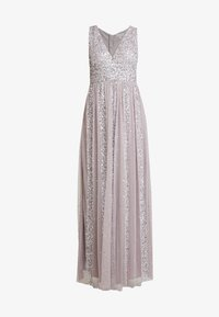 STRIPE EMBELLISHED SLEEVELESS MAXI DRESS - Galajurk - frosted lilac