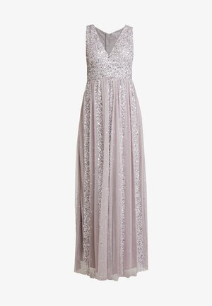 STRIPE EMBELLISHED SLEEVELESS MAXI DRESS - Gallakjole - frosted lilac
