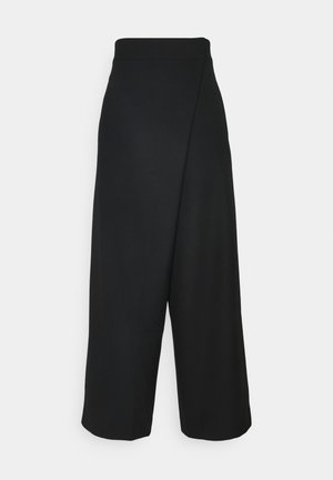 FOLD FRONT PANTS - Trousers - ants black