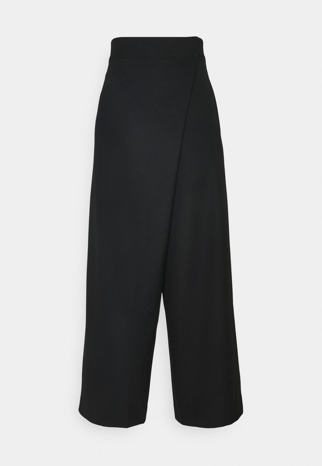 FOLD FRONT PANTS - Broek - ants black