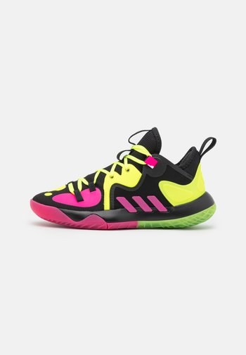 HARDEN STEPBACK 2 BASKETBALL BOUNCE SHOES UNISEX - Basketbalové boty - core black/team solar yellow/shock pink